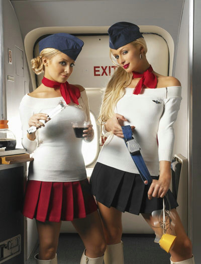 Paris Hilton and Nicole Richie as Flight Attendants