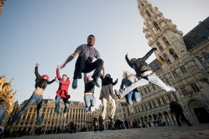 People jumping in Belgium square