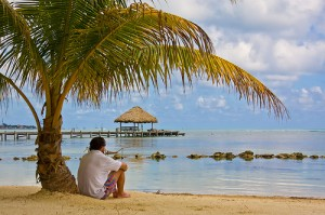 Sitting on the beach in Belize