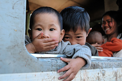 Adorable children on Burma train