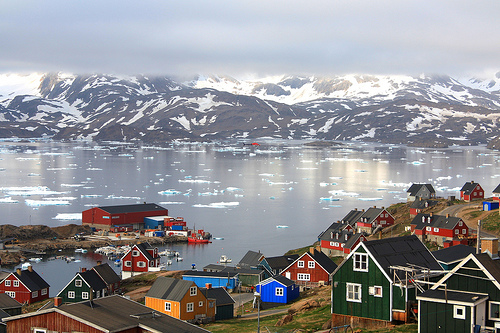 Colorful seaside village in Greenland