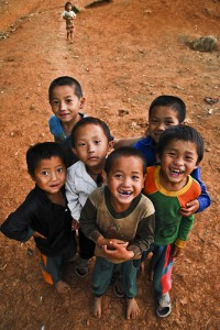 Smiling children in Laos