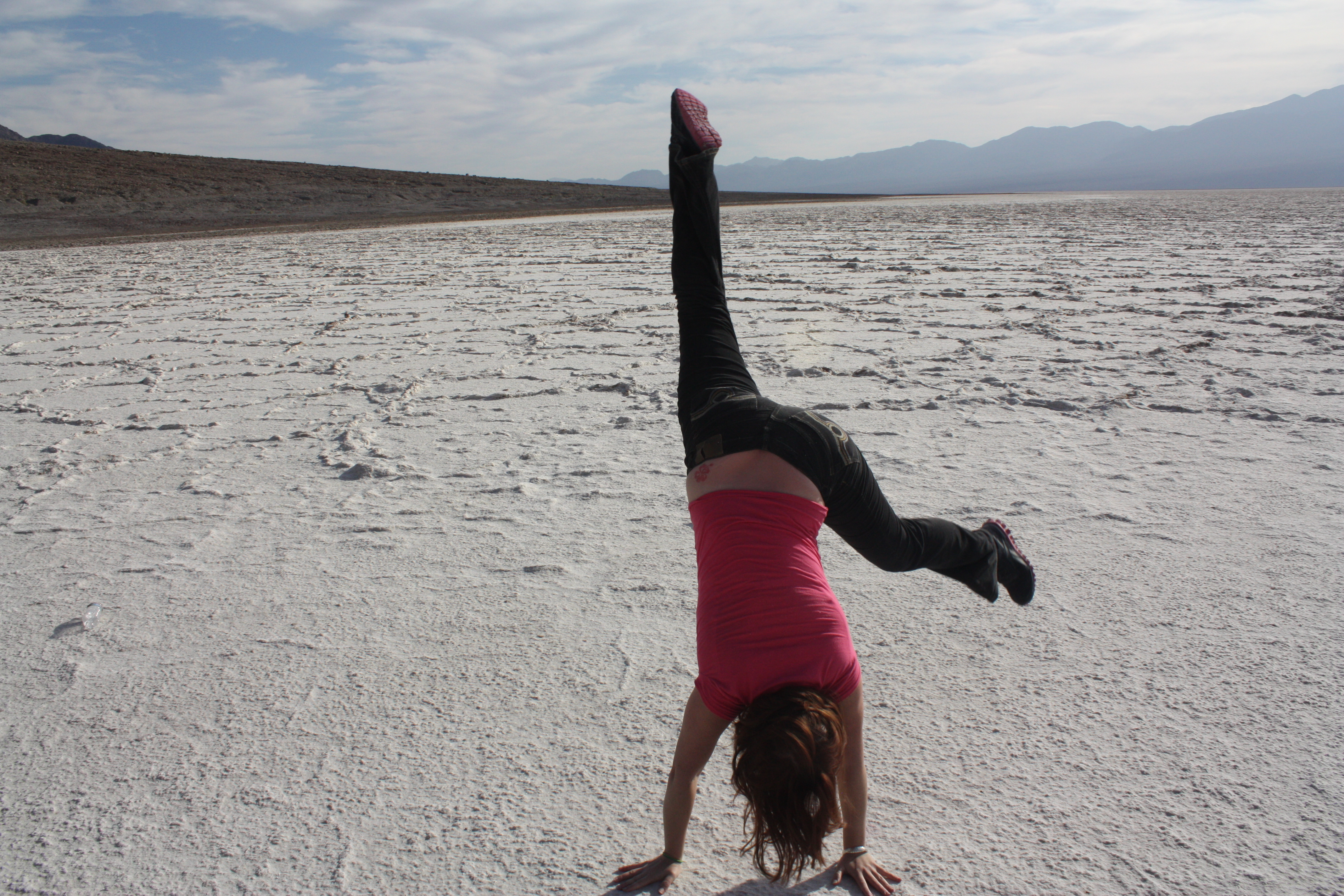 cartwheeling on the desert salt flats in Death valley