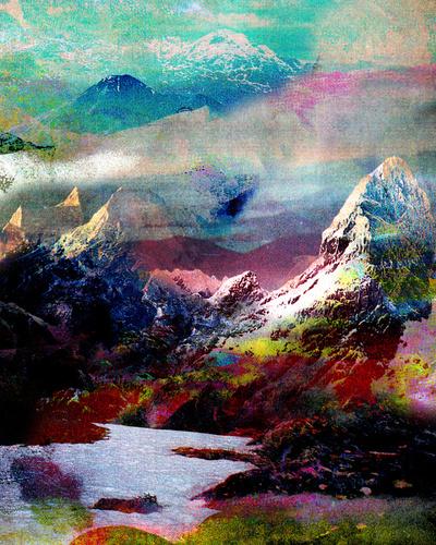 colorful snow mountain lake