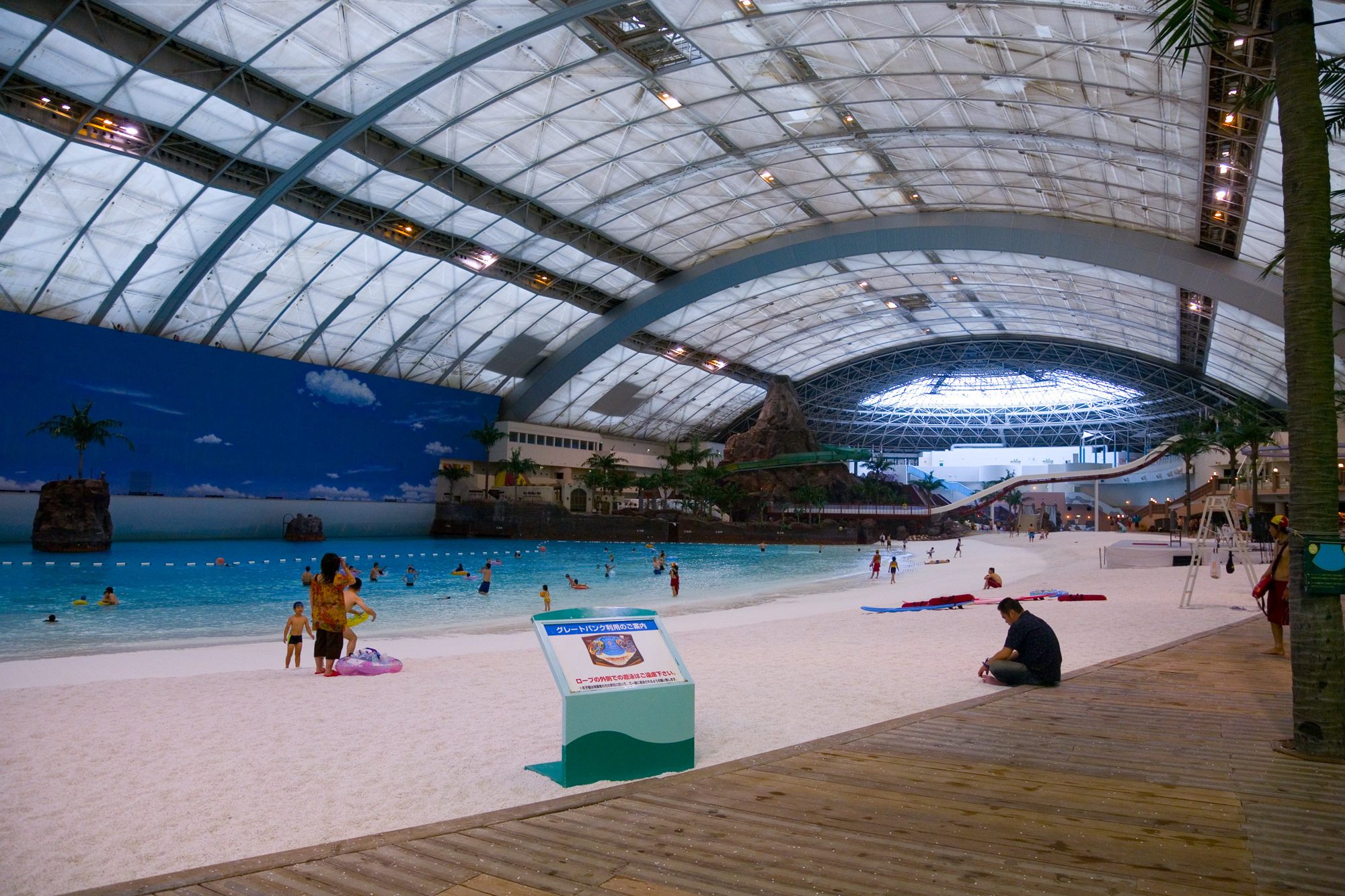 man-made indoor beach in japan