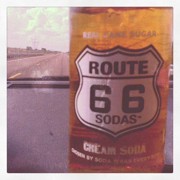 driving down route 66 with a route 66 soda