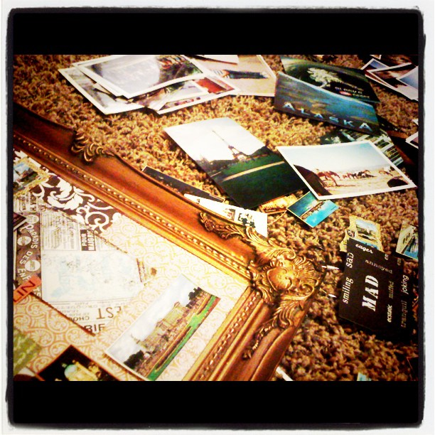 collage made from postcards