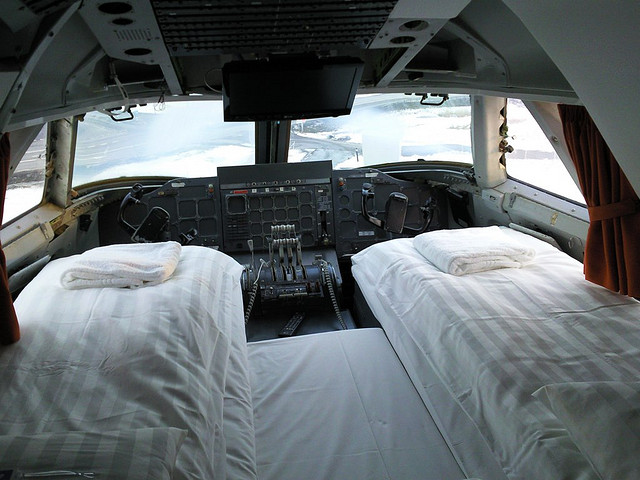 cockpit room in airplane hotel in sweden