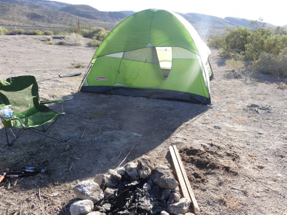 tent and camp fire near Area 51