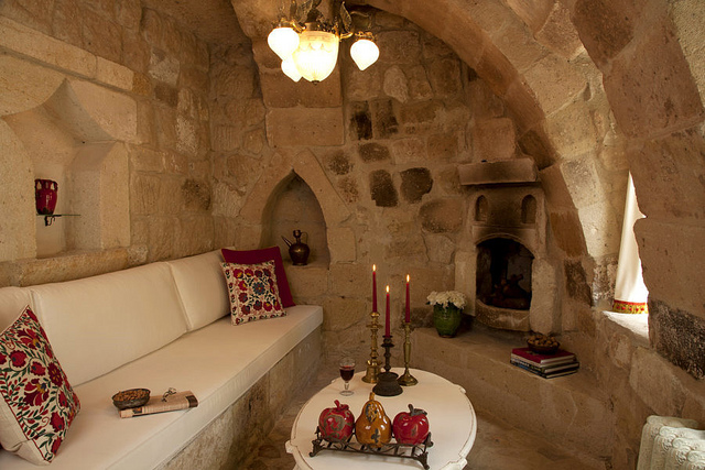 hotel room in a cave in turkey
