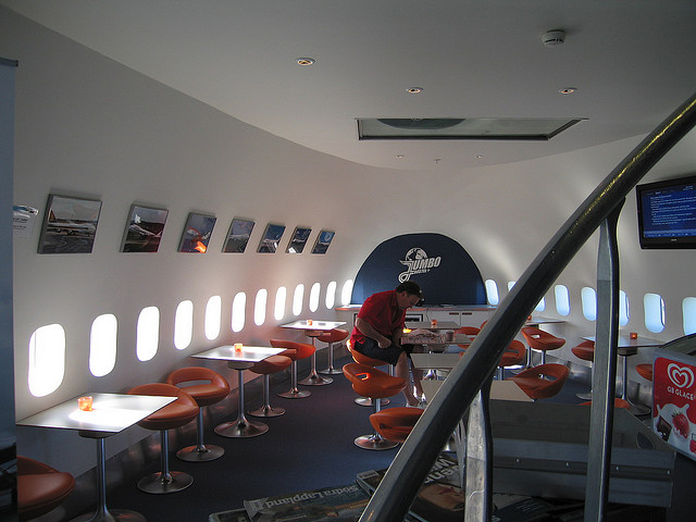 inside of the airplane hostel in sweden