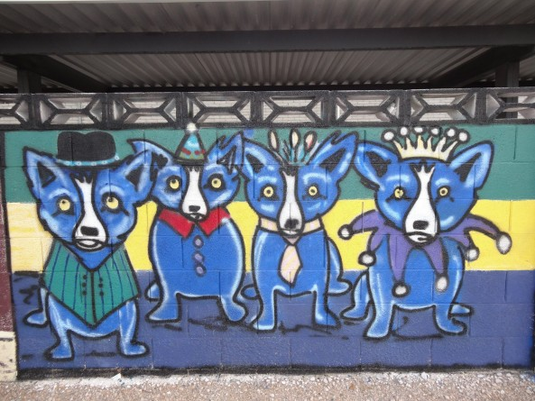 blue dog mural painting on a wall in the Arts District in Las Vegas