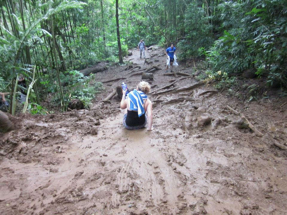 sliding in the mud near Manoa Falls