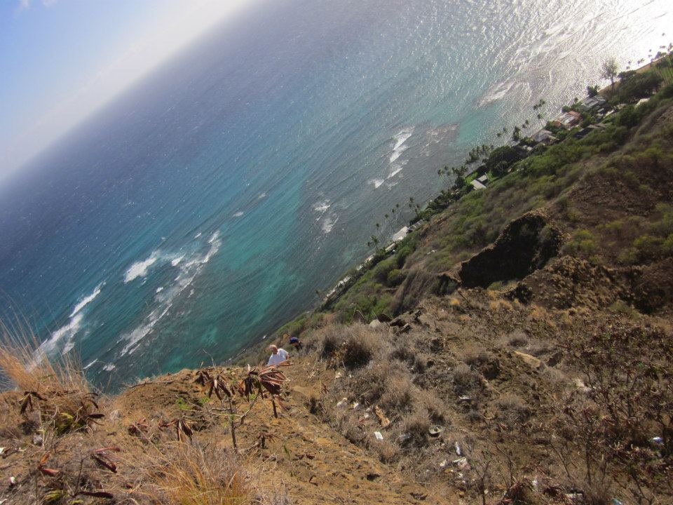 view of the ocean from the top of Diamond Head