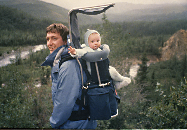 backpacker with baby
