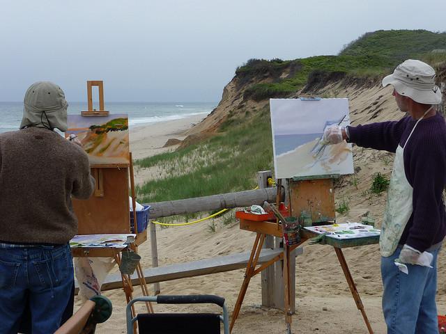 artist on beach
