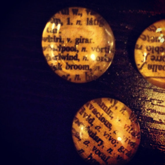 magnets made from a Spanish dictionary
