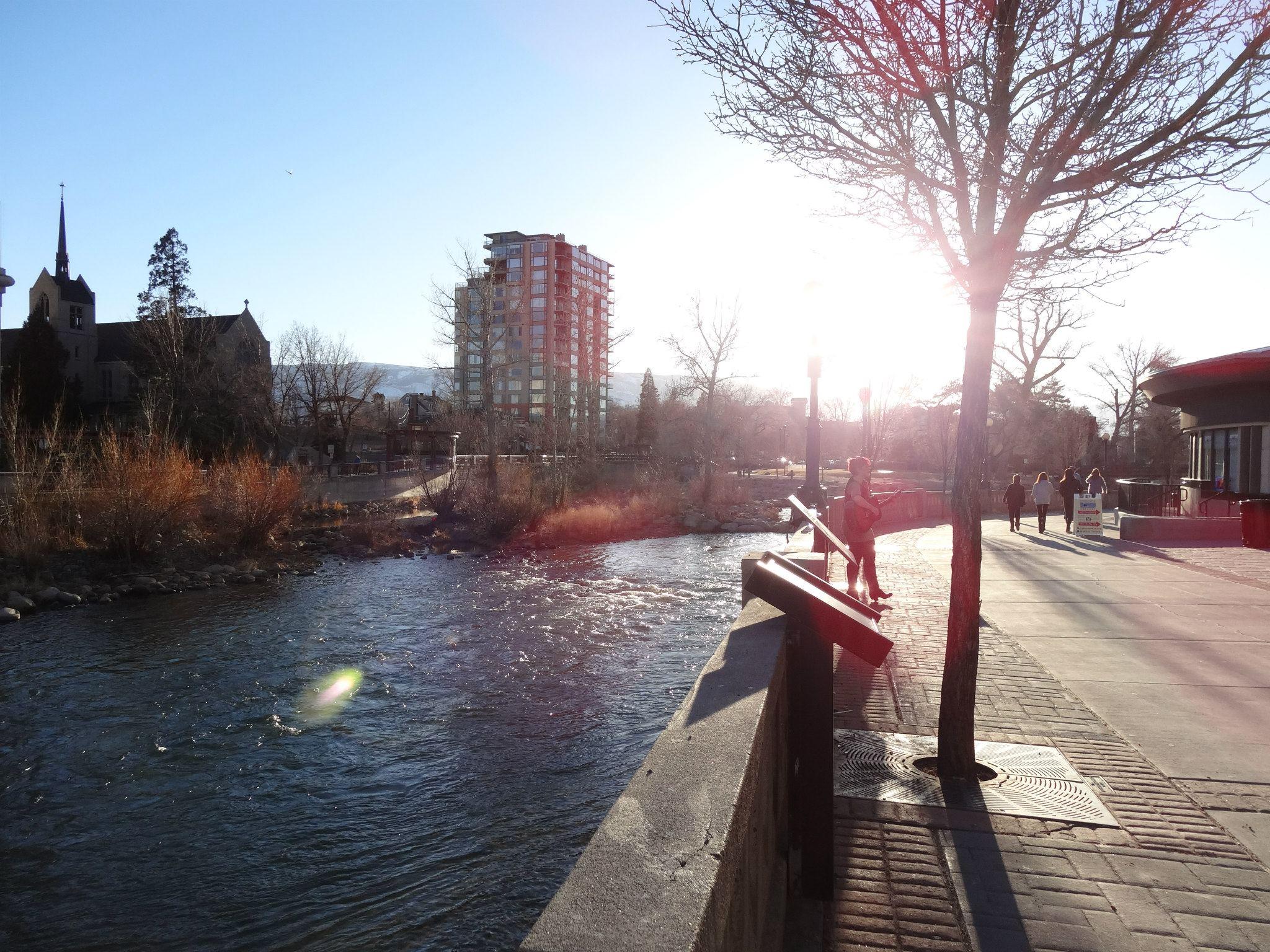 Reno riverwalk in Nevada