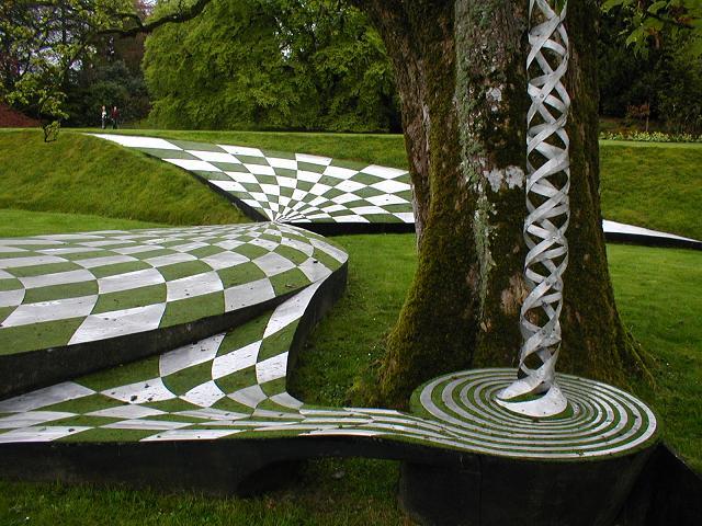 Unique sculptures at garden Dumfries in South West Scotland