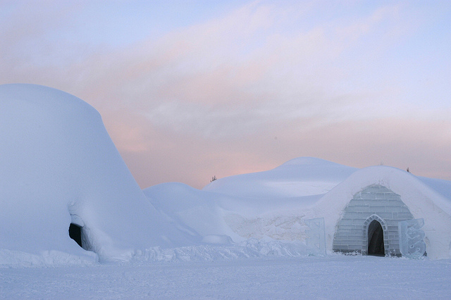 snowy scene from Kakslauttanen Igloo Village