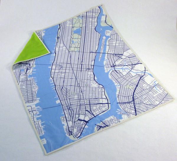 Manhattan map baby blanket