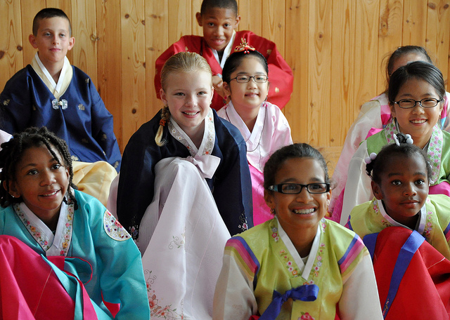 multi-racial group of children wearing kimonos