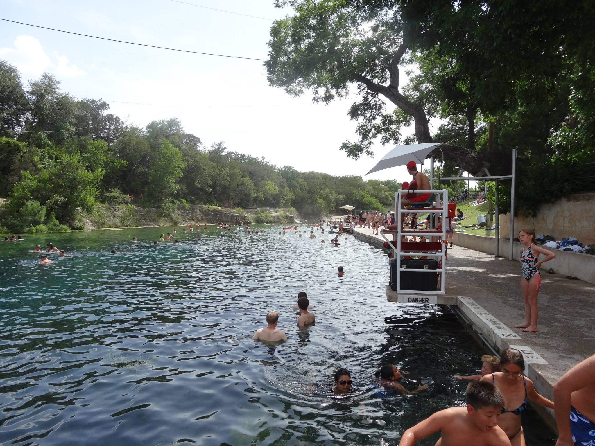 Barton springs pool and lifeguard