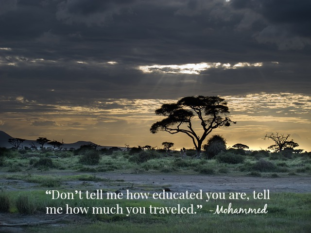 Don't tell me how educated are, tell me how much you traveled.