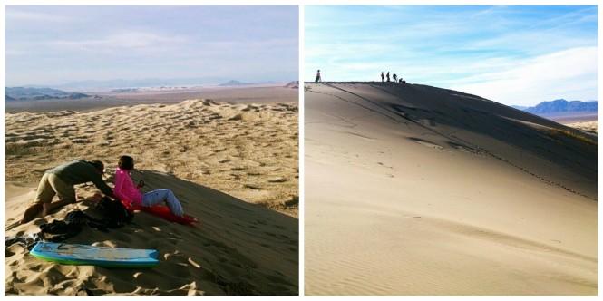 sledding down sand dunes